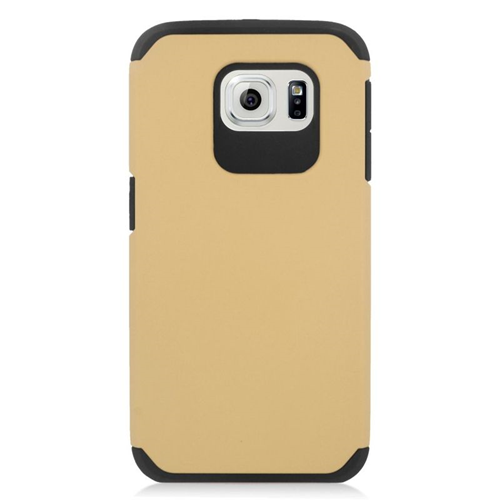 Insten Hybrid Rubberized Hard PC/Silicone Case For Samsung Galaxy S6 SM-G920, Gold/Black