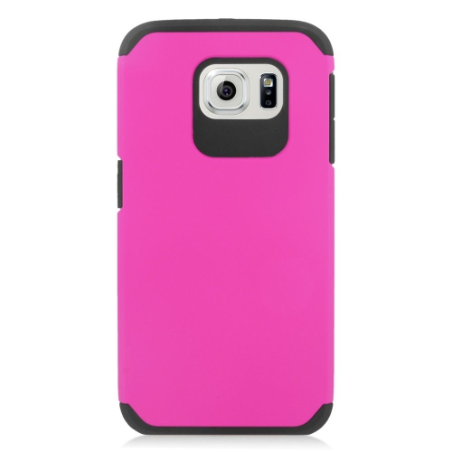 Insten Hybrid Rubberized Hard PC/Silicone Case For Samsung Galaxy S6 SM-G920, Hot Pink/Black