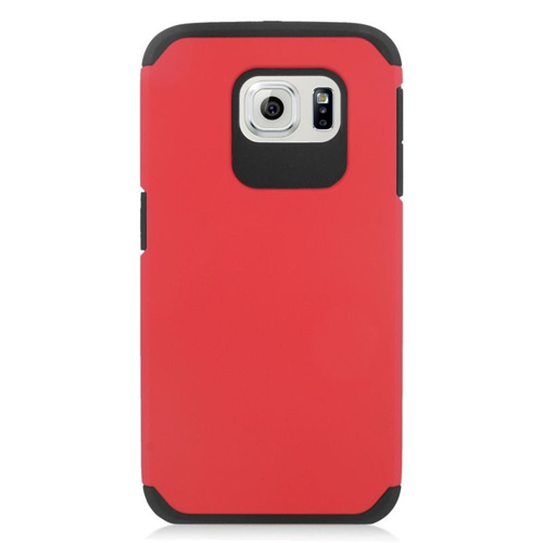 Insten Hybrid Rubberized Hard PC/Silicone Case For Samsung Galaxy S6 SM-G920, Red/Black