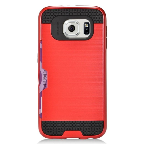 Insten Hybrid Hard PC/Silicone ID/Card Slot Case For Samsung Galaxy S6 SM-G920, Hot Pink/Black