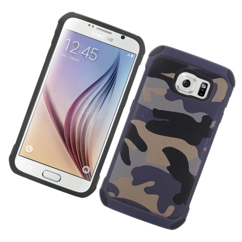 Insten Camouflage Hybrid Rubberized Hard PC/Silicone Case For Samsung Galaxy S6 SM-G920, Grey/Black