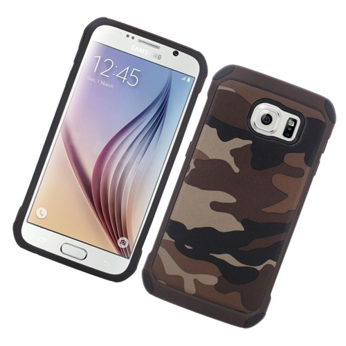 Insten Camouflage Hybrid Rubberized Hard PC/Silicone Case For Samsung Galaxy S6 SM-G920, Brown/Black