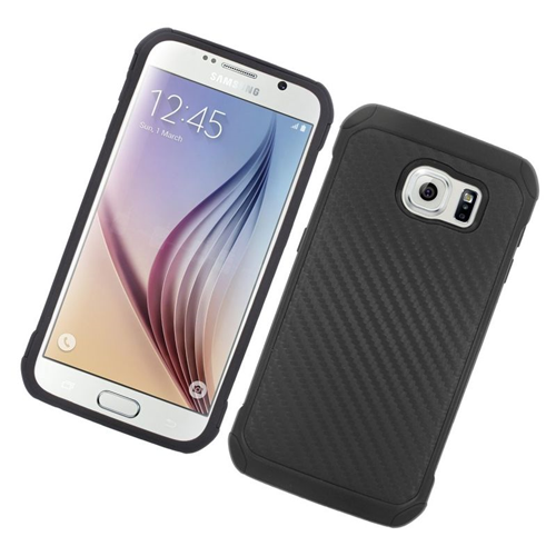Insten Carbon Fiber Hybrid Rubberized Hard PC/Silicone Case For Samsung Galaxy S6 SM-G920, Black