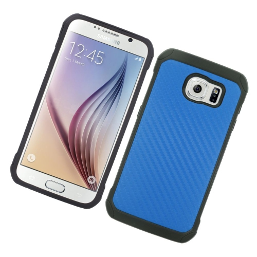 Insten Carbon Fiber Hybrid Hard PC/Silicone Case For Samsung Galaxy S6 SM-G920, Blue/Black