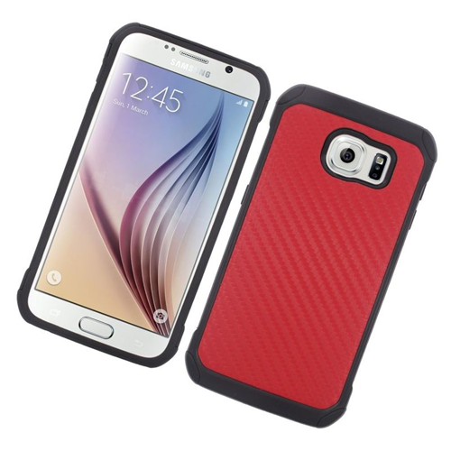 Insten Carbon Fiber Hybrid Rubberized Hard PC/Silicone Case For Samsung Galaxy S6 SM-G920, Red/Black