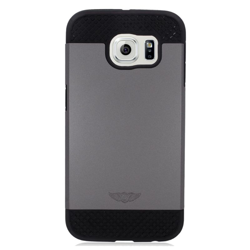 Insten Hybrid Rubberized Hard PC/Silicone Case For Samsung Galaxy S6 SM-G920, Gray/Black