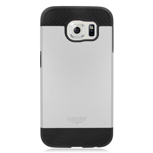 Insten Hybrid Rubberized Hard PC/Silicone Case For Samsung Galaxy S6 SM-G920, Silver/Black