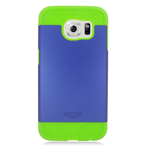 Insten Hybrid Rubberized Hard PC/Silicone Case For Samsung Galaxy S6 SM-G920, Blue/Green