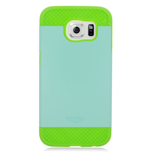 Insten Hybrid Rubberized Hard PC/Silicone Case For Samsung Galaxy S6 SM-G920, Mint/Green