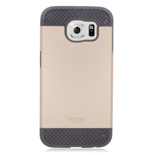 Insten Hybrid Rubberized Hard PC/Silicone Case For Samsung Galaxy S6 SM-G920, Gold/Gray