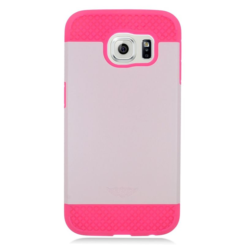 Insten Hybrid Rubberized Hard PC/Silicone Case For Samsung Galaxy S6 SM-G920, White/Hot Pink