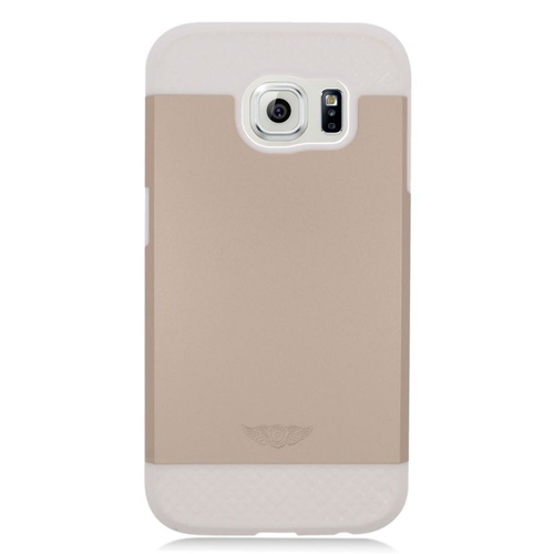 Insten Hybrid Rubberized Hard PC/Silicone Case For Samsung Galaxy S6 SM-G920, Gold/White