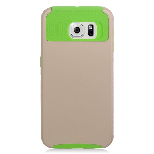 Insten Hybrid Rubberized Hard PC/Silicone Case For Samsung Galaxy S6 SM-G920, Gold/Green
