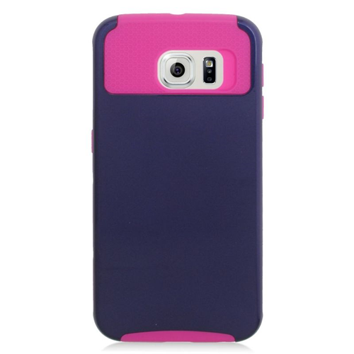 Insten Hybrid Rubberized Hard PC/Silicone Case For Samsung Galaxy S6 SM-G920, Blue/Hot Pink