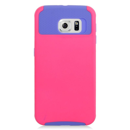 Insten Hybrid Rubberized Hard PC/Silicone Case For Samsung Galaxy S6 SM-G920, Hot Pink/Purple