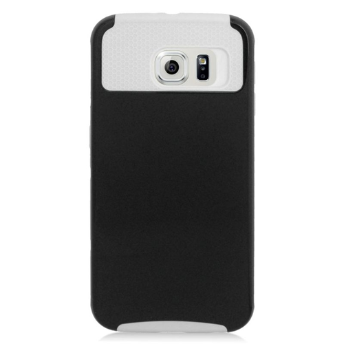 Insten Hybrid Rubberized Hard PC/Silicone Case For Samsung Galaxy S6 SM-G920, Black/White