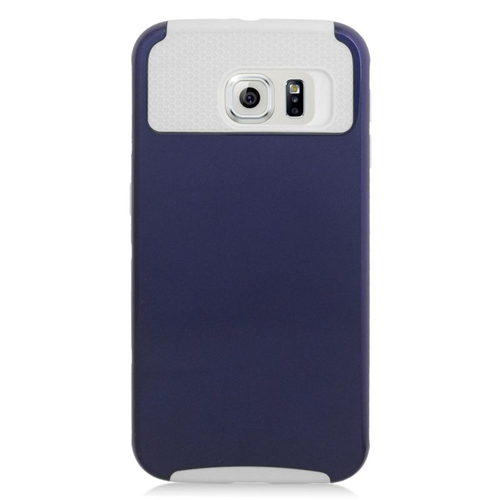 Insten Hybrid Rubberized Hard PC/Silicone Case For Samsung Galaxy S6 SM-G920, Blue/White