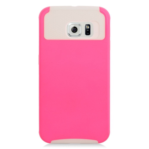 Insten Hybrid Rubberized Hard PC/Silicone Case For Samsung Galaxy S6 SM-G920, Pink/White