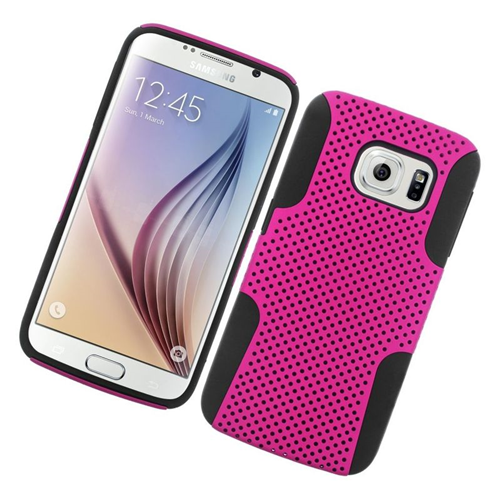 Insten Astronoot Hybrid PC/TPU Rubber Case For Samsung Galaxy S6 SM-G920, Hot Pink/Black