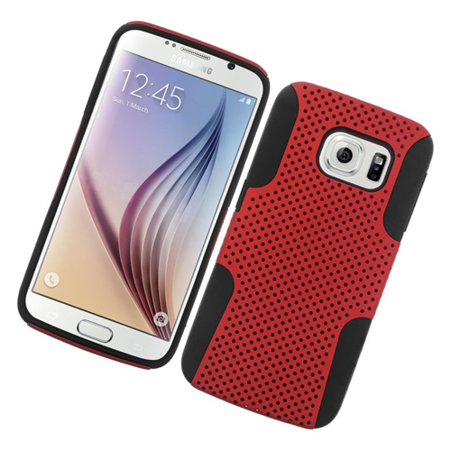 Insten Astronoot Hybrid PC/TPU Rubber Case For Samsung Galaxy S6 SM-G920, Red/Black