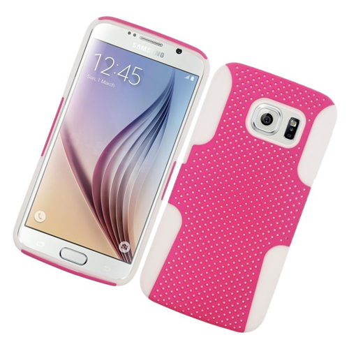 Insten Astronoot Hybrid PC/TPU Rubber Case For Samsung Galaxy S6 SM-G920, Hot Pink/White