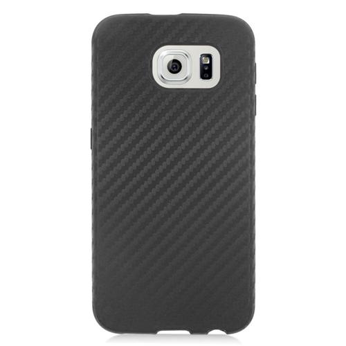Insten Carbon Fiber Hybrid Rubberized Hard PC/Silicone Case For Samsung Galaxy S6 SM-G920, Black