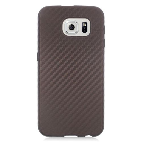 Insten Carbon Fiber Hybrid Hard PC/Silicone Case For Samsung Galaxy S6 SM-G920, Brown/Black