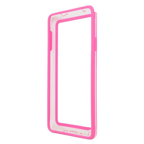 Insten TPU Rubber Candy Skin Bumper Case Cover Compatible With Samsung Galaxy Note 4, Hot Pink/White
