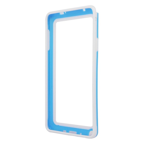 Insten TPU Rubber Candy Skin Bumper Case For Samsung Galaxy Note 4, Light Blue/White