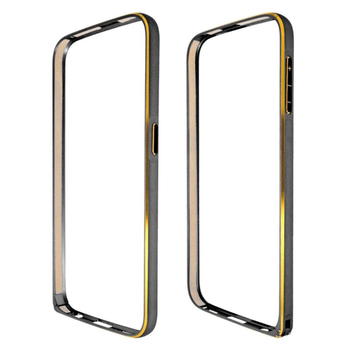Insten Metal Aluminum Bumper Case Cover Compatible With Samsung Galaxy S6 SM-G920, Black/Gold