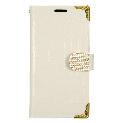 Insten Flip Leather Crocodile Skin Case w/card slot/Diamond For LG K7 Tribute 5, White/Gold