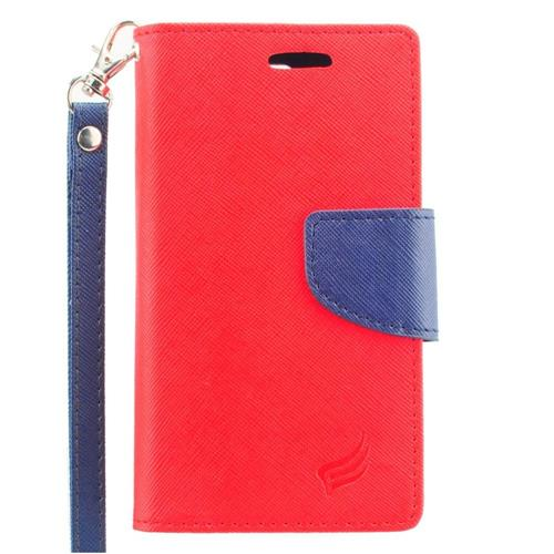 Insten Flip Leather Fabric Case Lanyard w/stand/card slot For LG Escape 2, Red/Blue