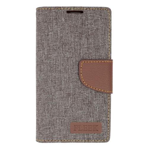 Insten Flip Leather Fabric Cover Case w/stand/card holder/Photo Display For LG Volt 2, Gray/Brown