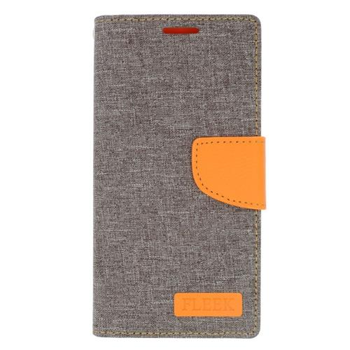 Insten Book-Style Leather Fabric Case w/stand/card holder/Photo Display For LG Volt 2, Gray/Orange