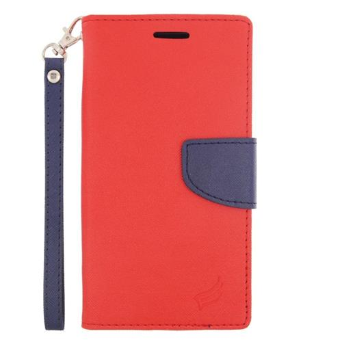 Insten Folio Leather Fabric Case Lanyard w/stand/card slot For LG G Stylo LS770/G Vista 2, Red/Blue