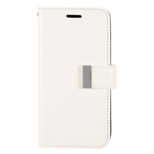 Insten Book-Style Leather Fabric Case w/card slot/Photo Display For Samsung Galaxy S7 Edge, White