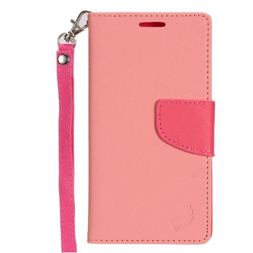 Insten Flip Leather Case w/stand/card holder/Photo Display For Samsung Galaxy S7 Edge, Pink/Hot Pink