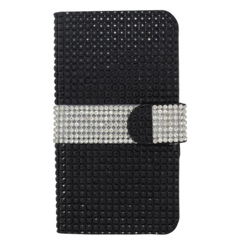 Insten Flip Leather Bling Case w/card holder For Samsung Galaxy S7 Edge, Black/Silver