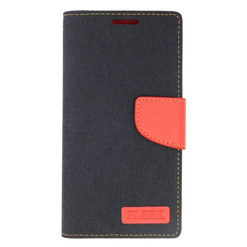 Insten Leather Fabric Case w/stand/card holder For Samsung Galaxy S6 Edge Plus, Black/Red