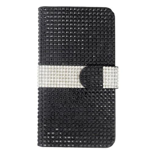 Insten Flip Leather Bling Case w/card slot For Samsung Galaxy S6 Edge Plus, Black/Silver