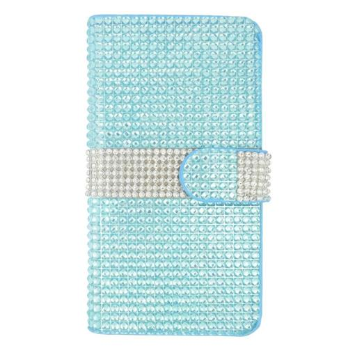 Insten Folio Leather Diamond Case w/card slot For Samsung Galaxy S6 Edge Plus, Light Blue/Silver