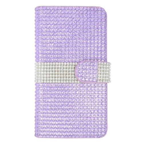 Insten Folio Leather Diamante Cover Case w/card slot For Samsung Galaxy S6 Edge Plus, Purple/Silver