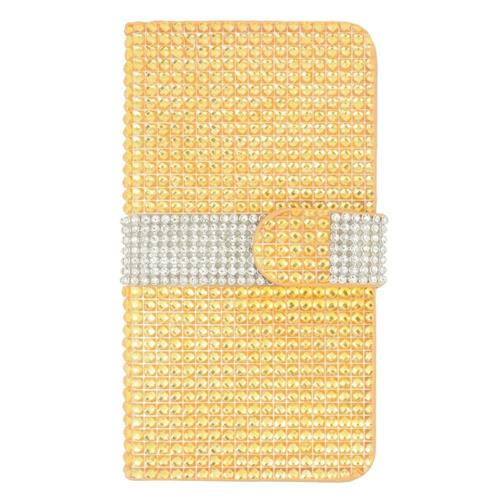 Insten Folio Leather Bling Case w/card slot For Samsung Galaxy S6 Edge Plus, Gold/Silver