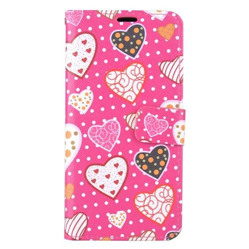 Insten Hearts Flip Leather Case w/stand/card holder For Samsung Galaxy S6 Edge Plus, Colorful