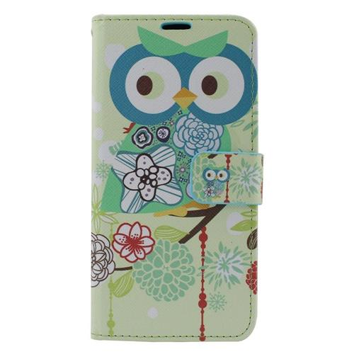 Insten Owl Leather Case w/stand/card holder/Photo Display For Samsung Galaxy S6 Edge Plus, Colorful