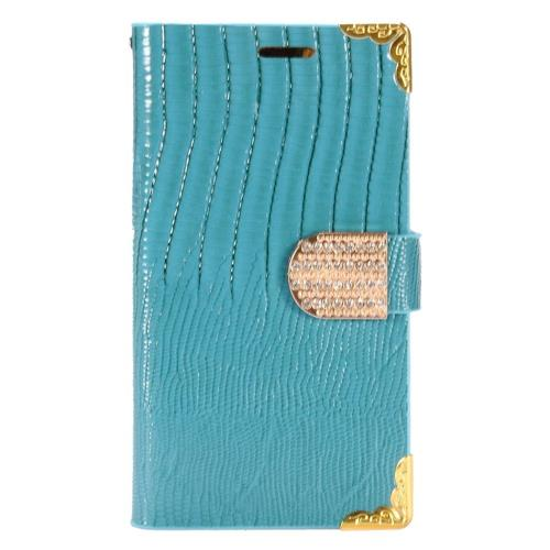 Insten Leather Fabric Case w/card holder/Diamond For Samsung Galaxy S7 Edge, Light Blue/Gold