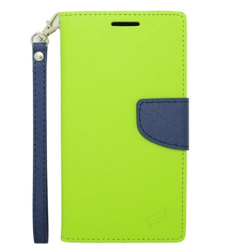 Insten Leather Fabric Case Lanyard w/stand/card holder For Samsung Galaxy Note 4, Green/Blue