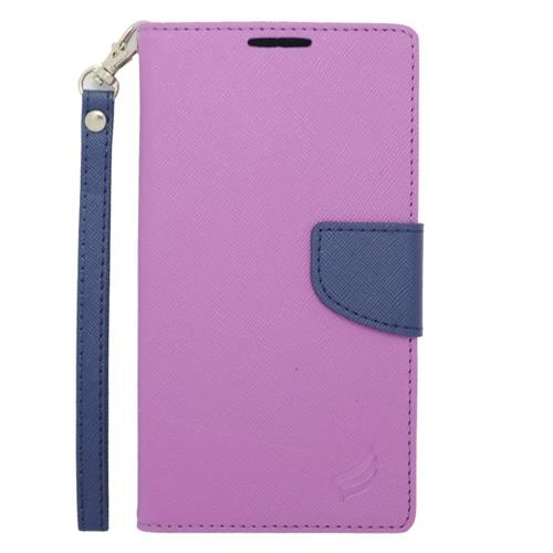 Insten Folio Leather Fabric Case Lanyard w/stand/card slot For Samsung Galaxy Note 4, Purple/Blue