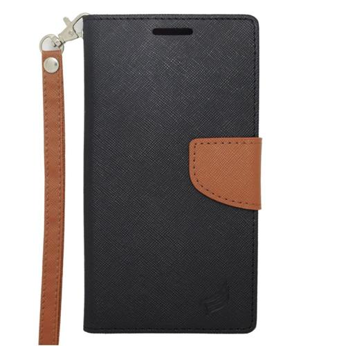 Insten Leather Fabric Case Lanyard w/stand/card holder For Samsung Galaxy Note 4, Black/Brown