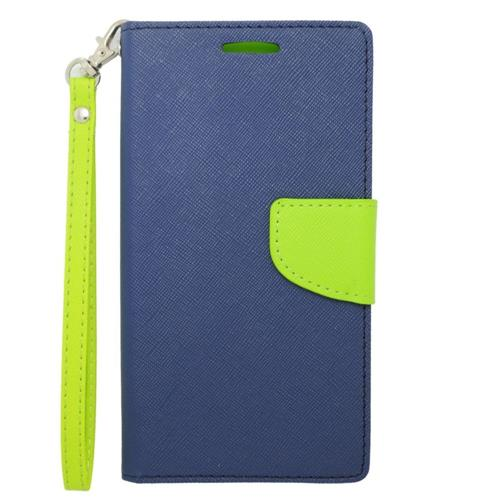 Insten Flip Leather Case Lanyard w/stand/card holder For Samsung Galaxy Note 4, Dark Blue/Green